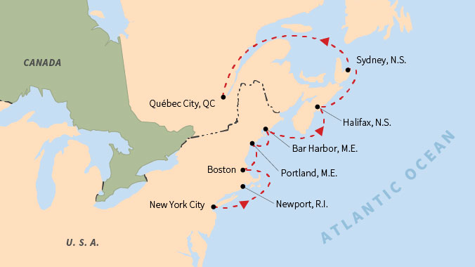 Historic Harbors From New York To Québec - Quebec city canada map