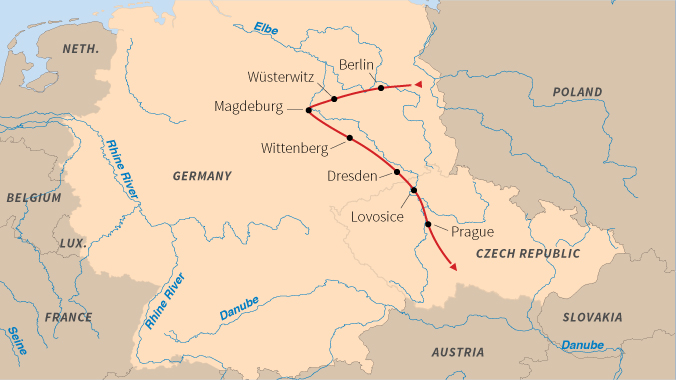 Germany and Czech Republic on the Elbe River