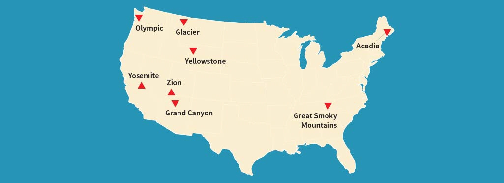 National Parks Travel Facts - Us map with national parks